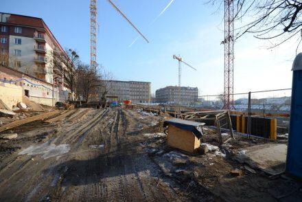 budowa bloku w śródmieściu Wrocławia